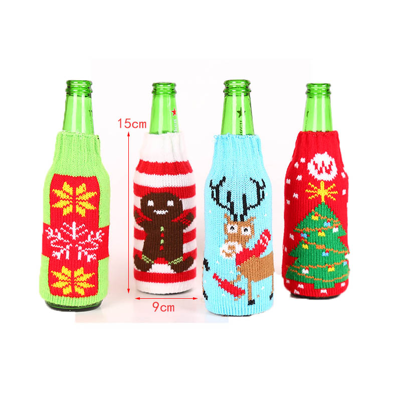 Wine Bottle Covers Sweater Sleeve Christmas Decor Wine Bottle Knit Cover Bags Wine Bottle Bag Gift Cover