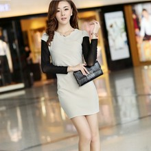 Women clothing han edition of new fund of 2013 autumn gauze lotus leaf collar stitching long-sleeved dress