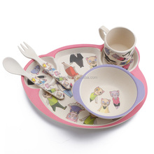 2018 Best Selling Bamboo Fiber Baby tableware five pcs dinner sets