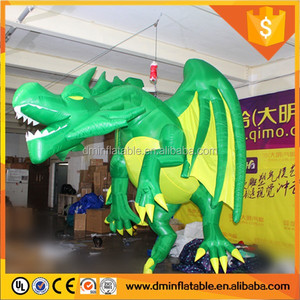 4m Length Green Inflatable Dragon With LED Light For club
