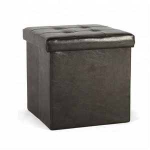 Brown Synthetic Leather folding storage ottoman stool