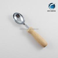 Wooden handle ice cream scoop