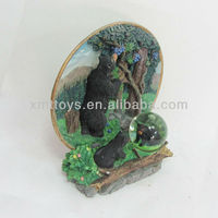 wholesale black bear resin home decor with water ball
