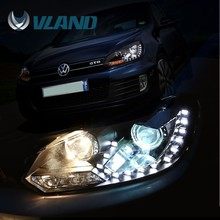 E-mark Rohs certification China supplier wholesale auto parts vw golf 6 led head light projector headlight golf