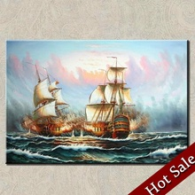 Wall home decor boats vessel Sea sailing theme painting