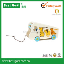 Bestgoal hot sale wooden kids toys DIY educational products wooden animal bus