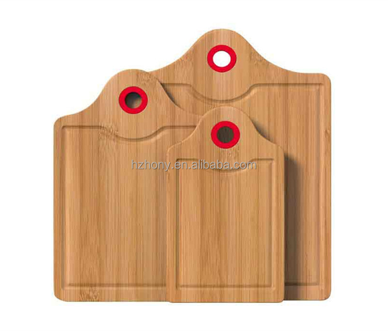 3 Piece Bamboo Cutting Board Set - Bamboo Carving and Chopping Boards for Countertop with Colored Silicone Handle and Lip Edge