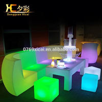 Chargeable Bar Sectional Plastic LED Sofa For Night Club Living Room Outdoor Garden