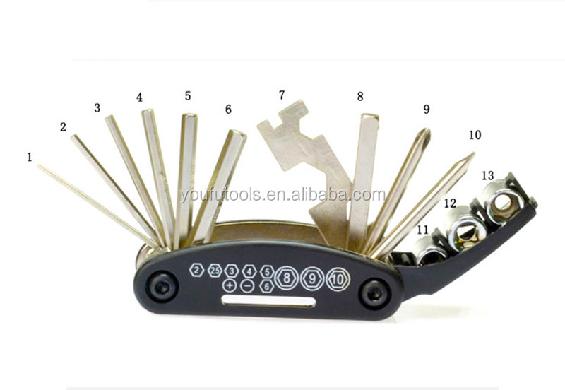 16 in 1 Multifunctional Portable Folding Bicycle Repair Tools Mountain Bike Riding Equipment