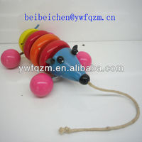 wooden baby toy with pull string mice