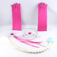 Colorful style cosplay long gloves party elsa crown gloves hand kids gloves for girls QCGV-8450