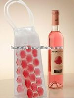 2013 popular recycled liquid bottle pvc plastic wine ice cooling bag in 2012