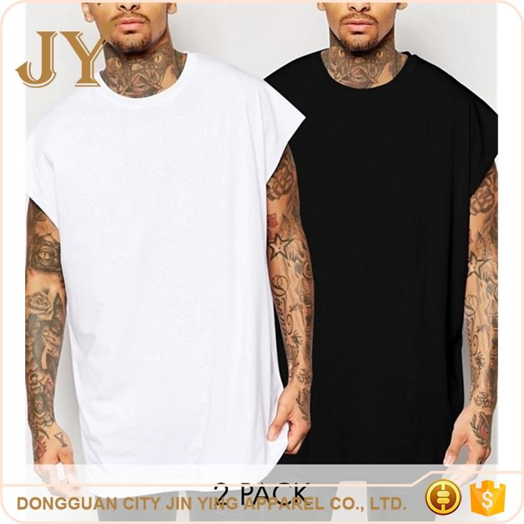 2 Pack 100% Cotton O Neck Curved Hem in Black/White Oversized t shirt