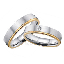 Classic designs handcrafted 316L steel love ring diamond for his and her