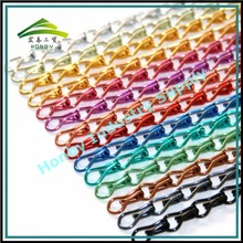 Muti Colorer Double Links 12mm Hook Aluminum Decoration Chain For Making Curtain