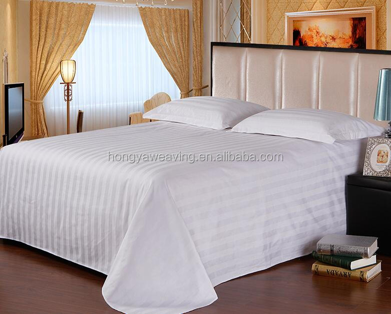 Customized cotton stripe hotel bed sheet flat sheet set for wholesale