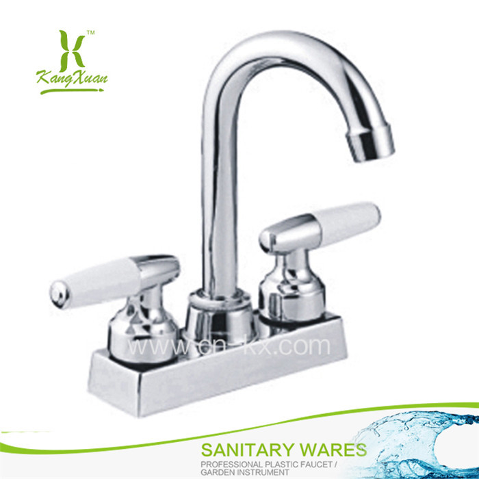 Stand plastic dual handle hot cold water mixer