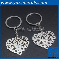 Metal heart shape wedding gifts key chain