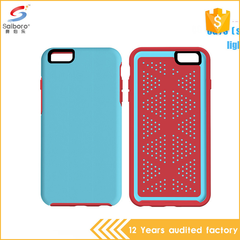 Multi-color/style double color in one mesh phone case for iphone 6s