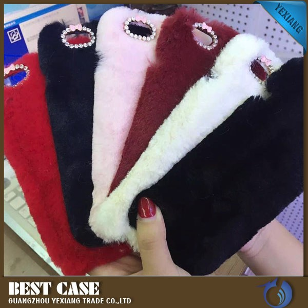 fanky rabbit fur phone case for samsung galaxy note 2 n7100 back cover