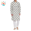 India Men Cotton Long Kurta collar Mens kurta shalwar kameez designs printing image pakistani pajama longling t shirt