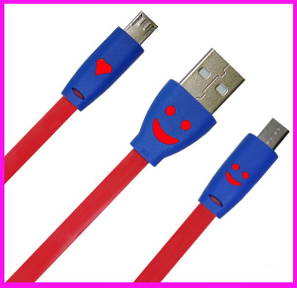wholesale led smile usb cable with flash noodles cable date line for android/iphone/mobile phone usb cable