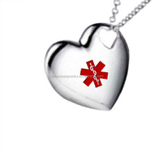 SRP0168 China Jewelry Wholesale Heart Shaped Medical Alert Charm Pendant Logo Lasered Stainless Steel Pendant