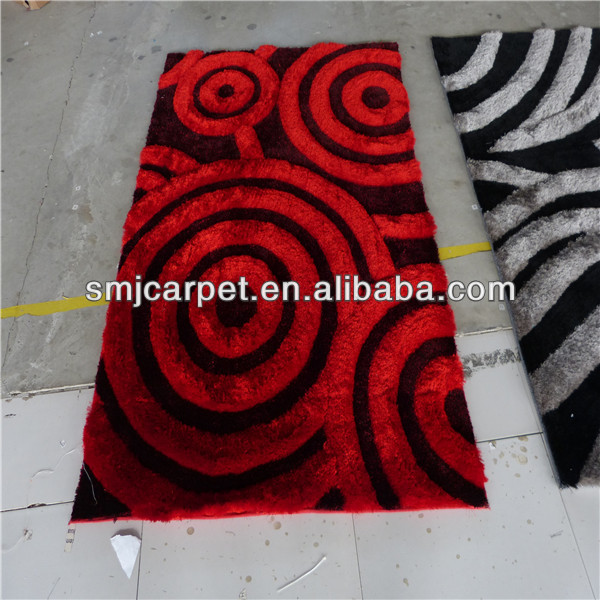 red and black color hand tufted carpets made in China factory