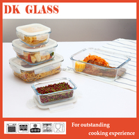 3pcs Set of Rectangular Glass Food Container/Glass Food Storage Box