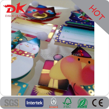 Custom gift tag Christmas 3d pop up greeting self adhesive labels