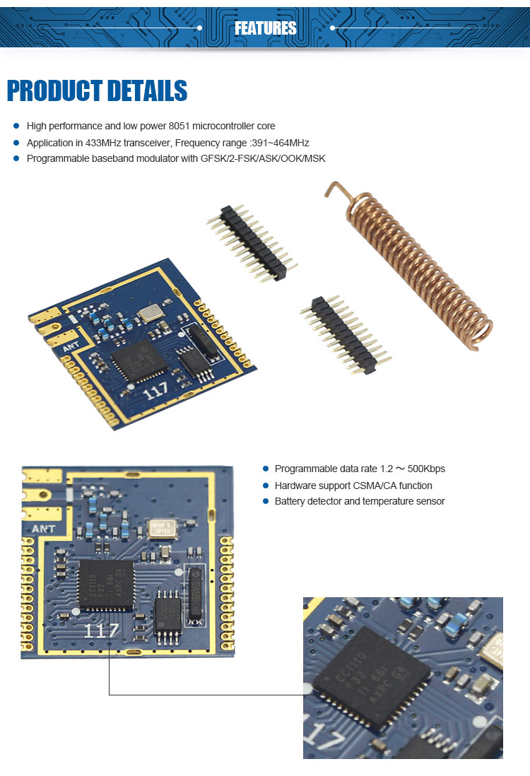 1km wireless transmitter and receiver module CC1110 rf module with 8051 MCU