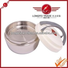 2014 Korean Style Stainless Steel Insulated Lunch Box Double Handle Lid Food Container