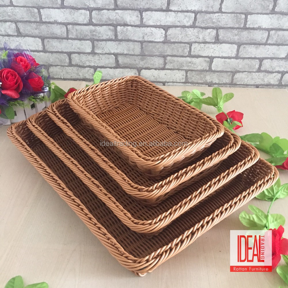 Top Quality Rectangle pe rattan basket/customized rattan wicker bread basket/custom size wicker basket