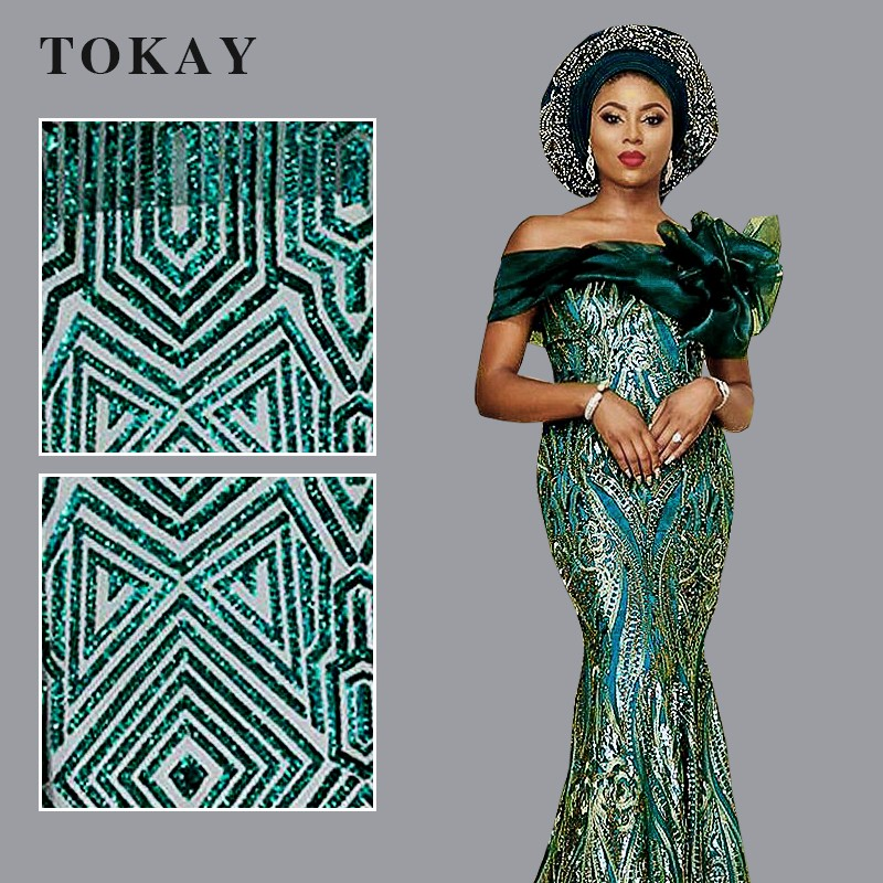 Teal green nigerian glitter tulle lace fashion styles
