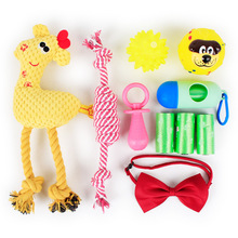 Wholesale Eco Friendly Cute Funny 10 Pieces Plush Cotton Rope Soft Rubber Squeaky Pet Dog Toy For Set Pack