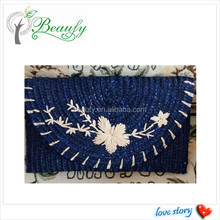 Hot Selling Dyed Blue Wheat Straw Clutch Bag