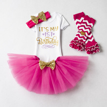 3pcs baby clothes sets 1 year baby girl <strong>dresses</strong> <strong>girl's</strong> birthday fashion <strong>dress</strong>