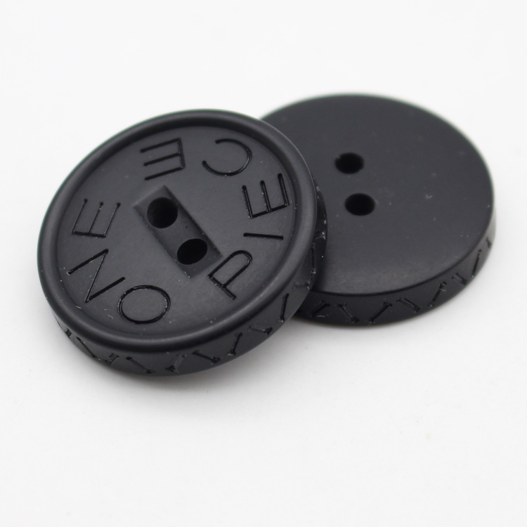 Side laser logo designer brand name plastic coat buttons