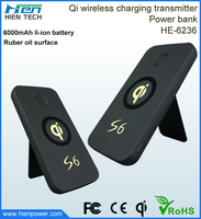 6000 mAh power bank, High quality qi wireless charger mobile phone battery charge power bank