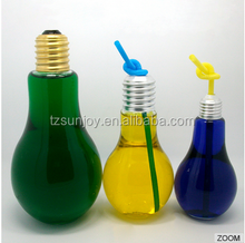 hot selling 400ml juice coffee tae milk tea beverage cheap PET plastic light bulb shape bottle