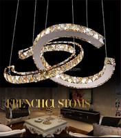 modern luxury k9 crystal led round circle chandelier