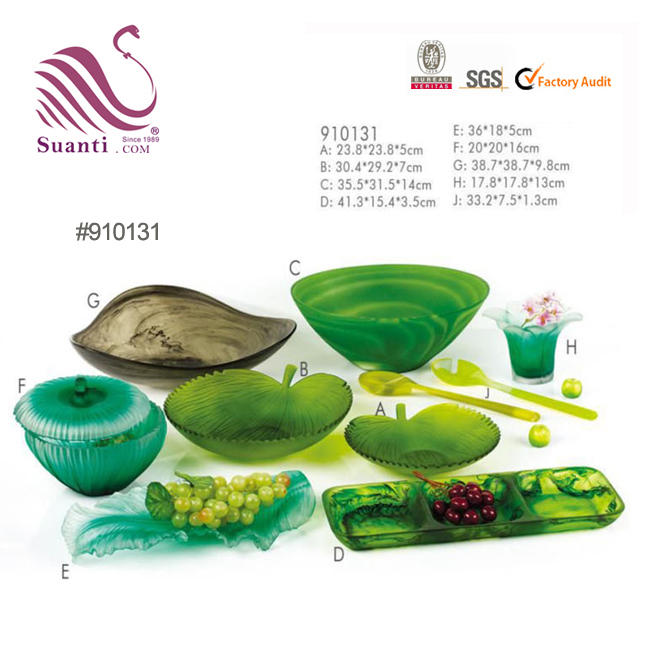 Hand Made Green Leaf Shape Resin Plate Dishes for Fruit and Cold Food