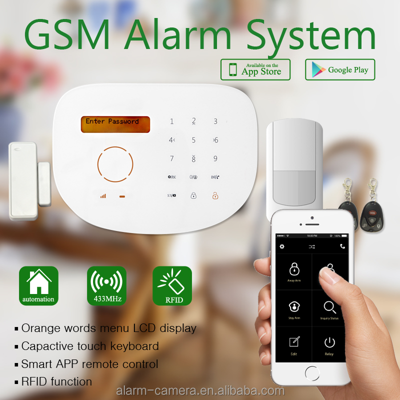 Quad band GSM frequency ,AC power failure SMS alert security gsm alarm system user manual