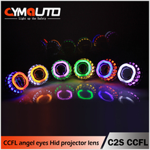 Cymauto car accessories C2S HID Bixenon projector lens kit square double angel eye CCFL rings lighting system spare car parts
