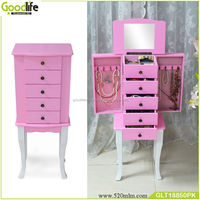 latest wooden furniture designs Pink color jewelry cabinet