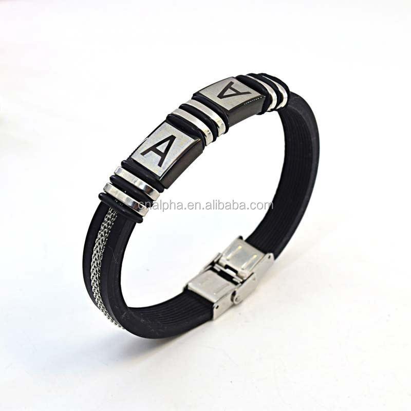 fashion stainless steel jewelry silicone bracelet with logo A clasp RB125