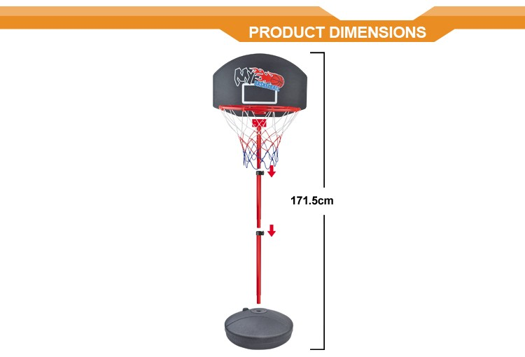170cm iron pipe children basketball stands kids basketball set