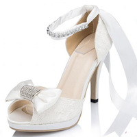 Fashion women sandal White lace Open Peep Toe Evening high heels Bridal pumps Wedding Shoes