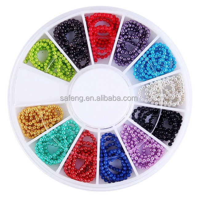 12 Colors Metal Beads Chain 3D Nail Art Tips Decorations XM013