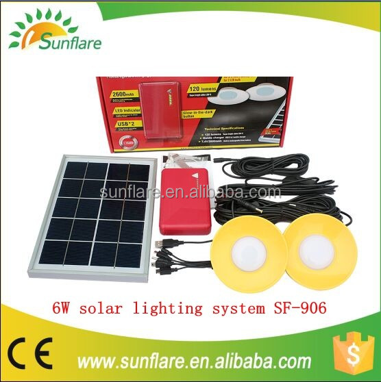 Mini home solar panel kit with 6W/11V Poly Solar Panel and Mobile phone charge